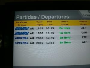 Alle 4 (!) Flüge pünktlich und wir fliegen sogar eine halbe Stunde früher los. Nicht schlecht, Trelew!