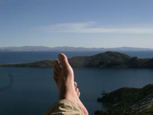 Blick von der lächerlichen Aussichtsterrasse vom Hotel an Yumani!